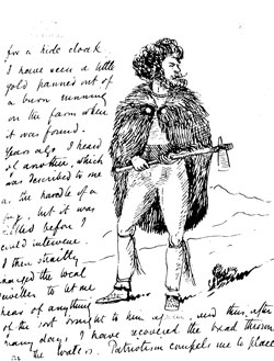 Letter from Evans to Maxwell with drawing of man with cloak fastening (JE-B-2-60)